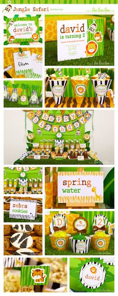 Jungle Safari Birthday Party Package Collection Set by LeeLaaLoo II Shop Them Here: https://www.etsy.com/shop/LeeLaaLoo/search?search_query=b90&order=date_desc&view_type=gallery&ref=shop_search