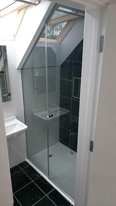Typical Custom Made Loft Shower Screen, CGC Showers Attic Shower, Small Attic Bathroom, Loft Bathroom, Upstairs Bathrooms, Bathroom Renos, Bathroom Renovations, Bathroom Interior, Bathroom Showers, Interior Paint