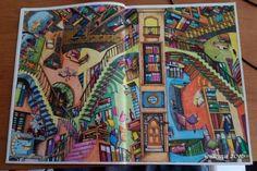 Colin Thompsons / Fantastisches Malbuch Seite 3 - Bücher-Treppenhaus, gemalt mit Koh-I-Noor und Ergo-soft Farben