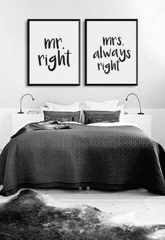 Minimal wall art print | Mr Right and Mrs Always Right | his and hers | minimalist home decor | black and white bedroom | couples bedroom poster | typography quote art | matching art for above the bed | #affiliate #minimalism