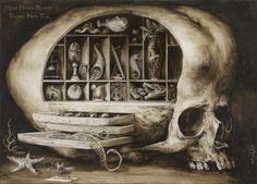 """Santiago Caruso - Ilustración para el relato """"Gabinete de maravillas"""", de Ángel Olgoso."""