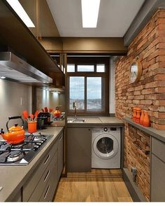 20 simple kitchen decoration in small house 8 Kitchen Interior, Interior Design Living Room, Kitchen Decor, Kitchen Ideas, Kitchen Designs, Interior Decorating, Small Apartments, Small Spaces, Cuisines Design