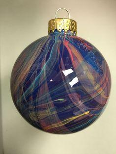 "2.6"" Artistically painted glass ornament, 3D desing, Unique gift Idea"
