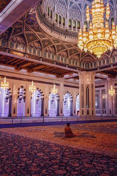 Grand Mosque in Oman. it took 600 women 4 years to make the carpet in the main praying room!