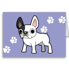 Cartoon French Bulldog (patch) Greeting Card