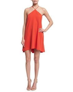 TBNXW Milly Halter-Neck Cascade-Back Dress, Flame