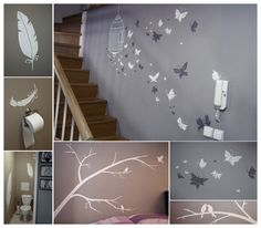 Decorating our walls in three days. I painted just the things I love, no templates, every picture is original:)
