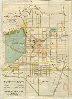 Digital Maps - Plan of Christchurch and suburbs. Southern Province, New Zealand Houses, Nz Art, Kiwiana, Pre And Post, Canterbury, What Is Like, Historical Photos, Homeland