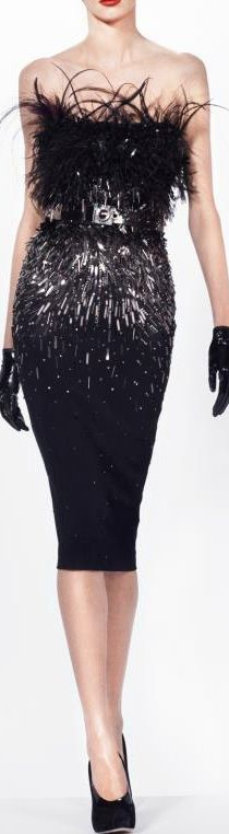 Effectfull and elegant cocktaildress with sequins and feather-trim, from Julien…