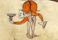 Marginal contortionist  'The Rutland Psalter', England ca. 1260 (British Library, Add 62925, fol. 73r)