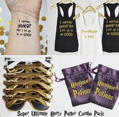 Check it out Potter Heads! The Super Ultimate Harry Potter Bachelorette Party Pack, Harry Potter Shirts, Harry Potter Tattoos, Harry Potter Sunglasses, Hangover Kits Harry Potter Shirts, Harry Potter Tattoos, Harry Potter Wedding, Harry Potter Theme, Bachelorette Party Themes, Bachelorette Weekend, Wedding Party Shirts, Party Wedding, Dream Wedding