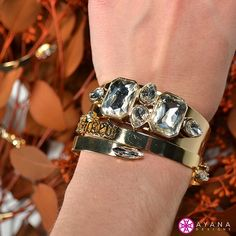 """You know what they say… """"If you've got it - flaunt it."""" #AyanaDesigns #bling #myjewelry #statement #fashion #mystyle #luxe #treatyoself #colorful #gems #cuff #bracelets #layering #trends #winterfashion #allgold"""