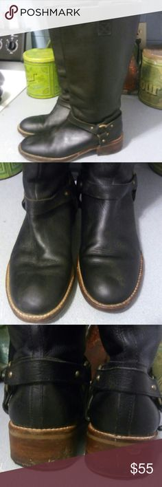Banana Republic Black Leather Tall Harness boots. Banana Republic Black Leather Tall Harness boots.  Sz 10. Leather upper. Pull on. Freshly cleaned and conditioned. Shows heel cap wear (photo 3). And sole wear (photo 4). Banana Republic Shoes Combat & Moto Boots