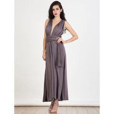 Mauve Multiway Maxi Dress ($44) ❤ liked on Polyvore featuring dresses, grecian dress, slimming maxi dresses, one sleeve dress, strappy maxi dress and convertible wrap dress