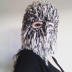 Birdy lookin girl #bird #birdmask #costume #secretface #mask #crochet #craft #wool #owl #fibreart #textileart #handmade #WoolWeek #wearableart #wtf #threadstories @threadstories