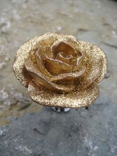Rose Drawer Knobs in Gold and Glitter SET of 4 by DaRosa on Etsy, $26.00