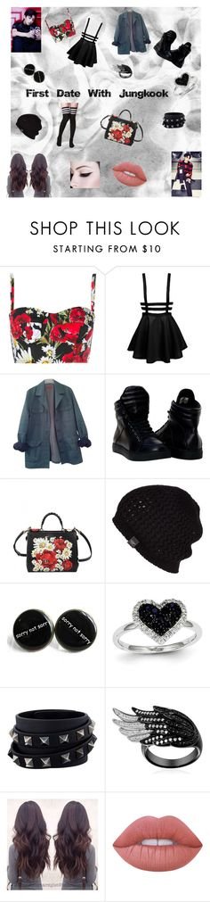 """""""Jeon Jungkook"""" by bulletproof-girl-scout ❤ liked on Polyvore featuring Dolce&Gabbana, HUGO, UGG Australia, Kevin Jewelers, Valentino, Lime Crime, kpop, bts and jungkook"""
