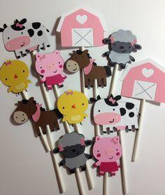 Set Of 24 Girly Barn Yard Animal Cupcake Toppers,sheep,pig chick,horse,cow barn,favors, cupcake decor, farm animal, birthday parties, baby. $22.99, via Etsy.