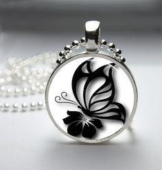Butterfly Necklace Butterfly Pendant Butterfly Jewelry Glass Bezel Art Photo Pendant
