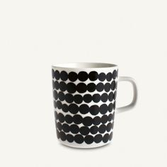 Beker met oor Marimekko Siirtolapuutarha / Oiva in zwart wit Marimekko, Tableware, Tablewares, Corning Glass, Dinnerware, Dishes, Place Settings