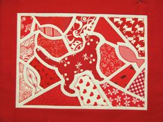 Mosaic cat quilt block by Pamela Jones at KimzSewing (Australia)