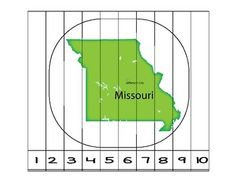 This is a Missouri Counting to 10 Puzzle and a writing page for writing about six things that they like about Missouri.  It also includes a page to glue the puzzle on.