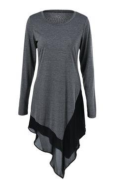 top outfits:Asymmetrical Long Blouse