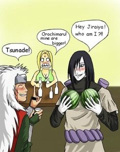 "Naruto » Humor » Comic | ""Hey, Jiraiya! Who am I?!!"" ""Orochimaru! Mine are bigger!"" ""Tsunade!"" | #orochimaru #tsunade #jiraiya"