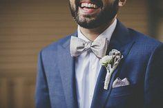 gold bow tie, blue j.crew suit / Romantic Art Deco California wedding | Photo by  Gantes Co Photography  | Read more -  http://www.100layercake.com/blog/wp-content/uploads/2015/02/art-deco-san-francisco-wedding
