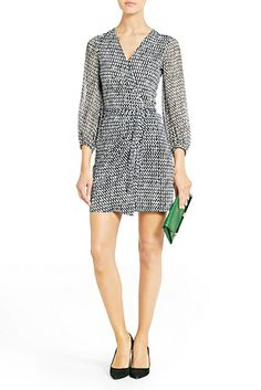 DVF |  A sheer chiffon sleeve adds interest to the Sigourney wrap dress. http://on.dvf.com/10KINMp