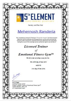 "Congratulations to Mehernosh Randeria for being awarded the India's 1st ""Licensed Trainer of #Emotional #Fitness #Gym"" certificate after successfully completing the #Train #The #Trainer using #NLP program.  Next Open #NLP Training from Anil Dagia - #India's #Most #Innovative #NLP #Trainer #ICF + #NLP Dual #Certification #Life #Coach #Training #Mumbai #Pune #India #Global 19 Jan #Mumbai 23 Jan #Pune 1 Feb  Attend From Anywhere #Emotional #Fitness #Gym - #Online  12 Jan"