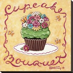 Cupcake Bouquet Stretched Canvas Print by Janet Kruskamp at Art.com
