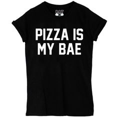 Pizza Is My Bae Tee Black* (32 BAM) ❤ liked on Polyvore featuring tops, t-shirts, shirts, black crew neck shirt, black cotton shirt, slogan t-shirts, print t shirts and cotton shirts