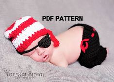 Crochet Pattern  Newborn Pirate Set  Pants hat by FreshOffTheeHook