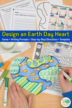 Simple & easy Earth Day art game for elementary students. Fun roll-a-dice game adds a creative twist! Art Games For Kids, Art Lessons For Kids, Art Lessons Elementary, Spring Art Projects, Projects For Kids, Art Sub Plans, Earth Day Activities, Drawing Activities, Arts Integration