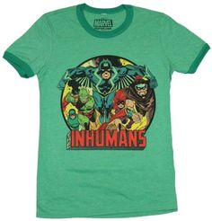 The Inhumans (Marvel Comics) Mens T-Shirt - Circle Giant Team Group Over Name - Small / green, Men's, Size: 2X-Small