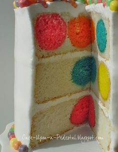 AWESOME Polka Dot Cake! Place already made cake balls inside cake pan with cake batter, then bake! SO EASY!