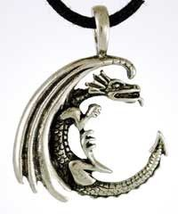 """This clever amulet depicts the moon as though it were made up of the coiled form of a dragon. Sculpted of pewter, no detail is spared from the scales along the Dragon`s serpentine body to the sweep of its wings coiled close in representation of the crescent moon. The result is a potent symbol for the magic found within the moon, that can be used to help bring these lunar energies into your ritual craft and spells to help achieve the results you desire. This amulet measures 1 1/2"""" in le $7.95"""