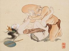 Painting with 'The Goddess Benzaiten and the God Fukurokuju' YOU can check out more hilarious shunga involving the Seven Lucky Gods by clicking this image NOW. Taisho Era, Geisha Art, Kuniyoshi, Sex And Love, Original Wallpaper, Japan Art, Erotic Art, Image Now, Cartoon Art
