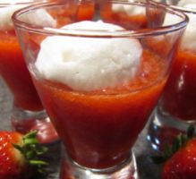 dessert - Iles flottantes aux fraises -totalement light et ultra gourmande