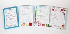 Teacher, my child is leaving early today because... Our Parent Excuse Pads are so easy and practical for sending a note to school. The exclusive pads are personalized, and make things just a bit easier on Mom.