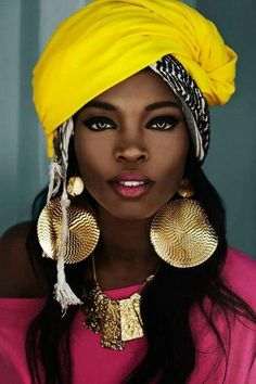 Yellow Head Wrap | Love the colors, & the jewellery, the eye make up is beautiful.