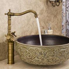 Bathroom Countertop Sink Faucet Dual Handles Basin Mixer Tap Antique Brass Faucets http://www.amazon.com/dp/B00N3VKDP0/ref=cm_sw_r_pi_dp_Xbgkub074S3TG