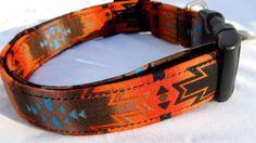 Dog collar Southwestern style in rust black orange by FunkyMutt
