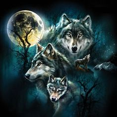 """Wolf Family Collage is a 500 piece jigsaw puzzle. Featuring artwork by Tami Alba. Puzzle measures 19 x 19"""" when complete. Our puzzles are Eco-friendly we use soy-based inks on Recycled boards. Made 10"""