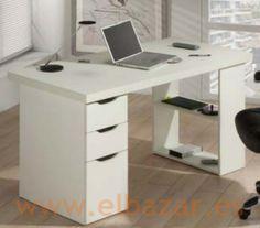 Mesa escritorio/oficina Cajes, blanca, con cajones y estanterías