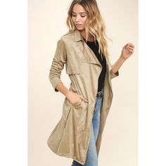 Take on the World Beige Suede Trench Coat ($23) ❤ liked on Polyvore featuring outerwear, coats, beige, suede coat, sash belt, draped trench coat, brown coat and suede trench coat