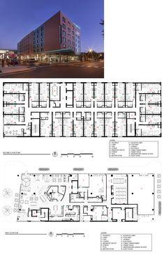 Hyatt Place Harper Court, Chicago Plan Hotel, Hotel Floor Plan, Architecture Site Plan, Hotel Design Architecture, Architectural Floor Plans, Hotel Room Design, Hotel Concept, House Layout Plans, Bungalow House Design