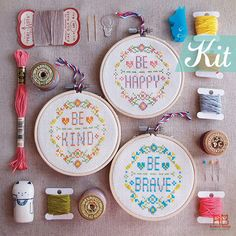 Modern quote Cross Stitch KIT-Be Happy Be Brave Be Kind -Floral Happy Modern Funny typo graphic