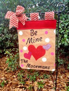Valentine's Day Garden Flag Burlap Heart